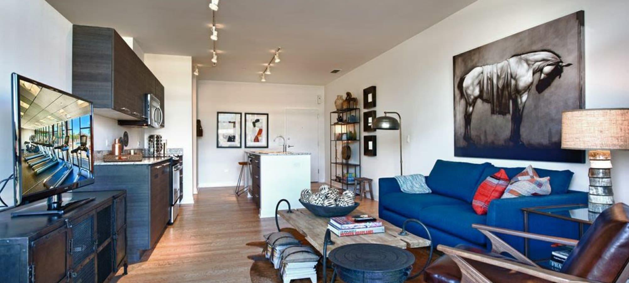Luxury living room at Domus in Phoenix, Arizona