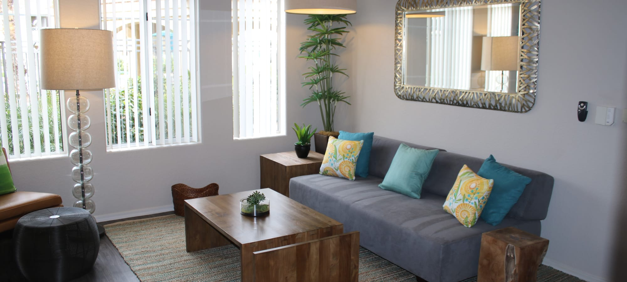 Furnished living room in a model home at Mira Santi in Chandler, Arizona