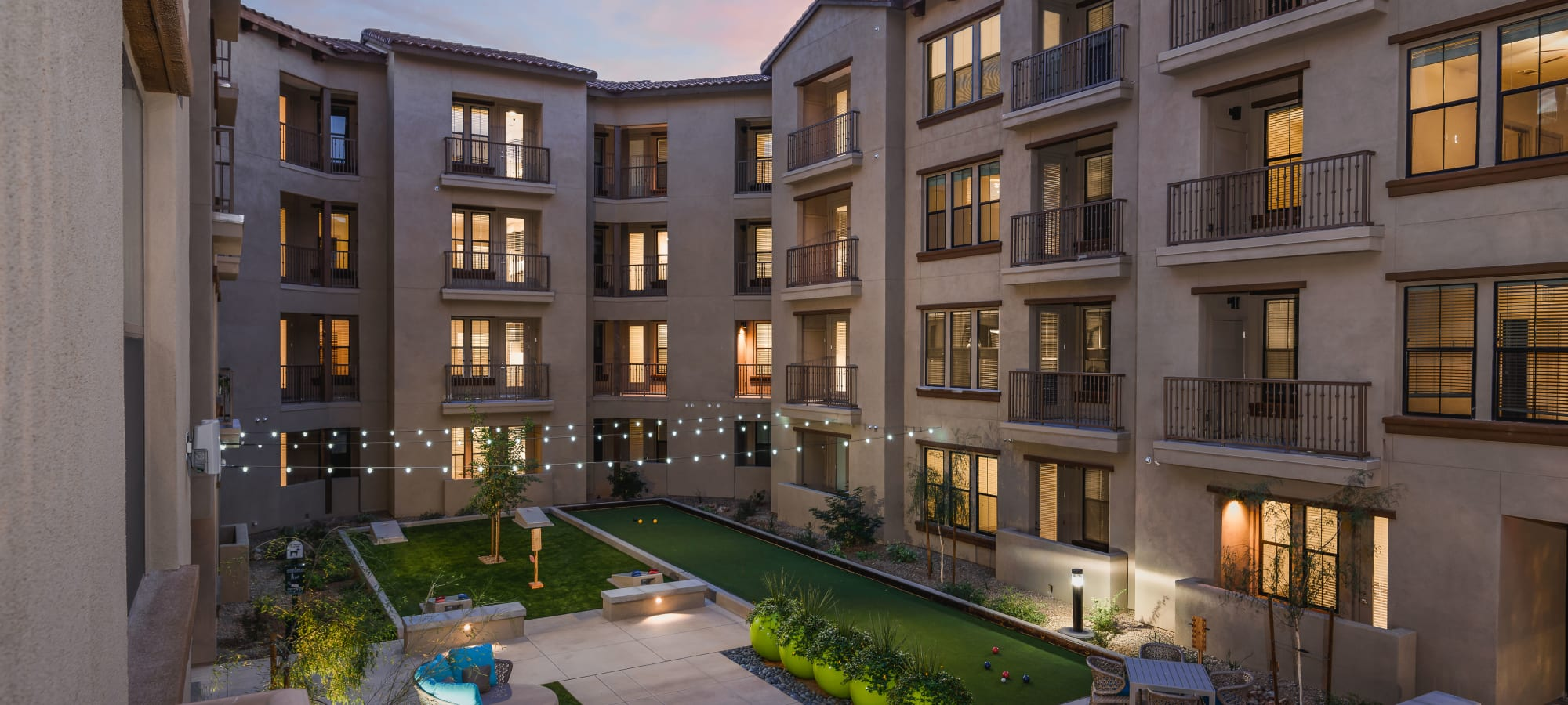 View of the courtyard between resident buildings at The Core Scottsdale in Scottsdale, Arizona