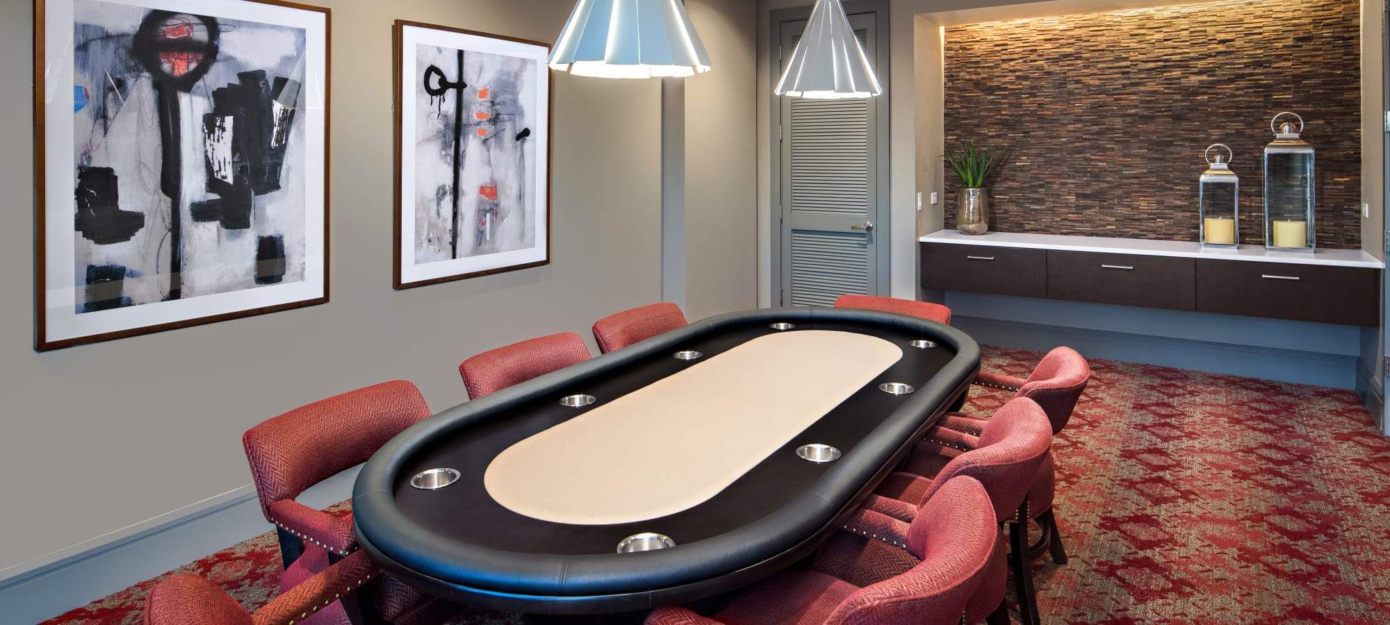Gaming table in the resident clubhouse game room at The Core Scottsdale in Scottsdale, Arizona