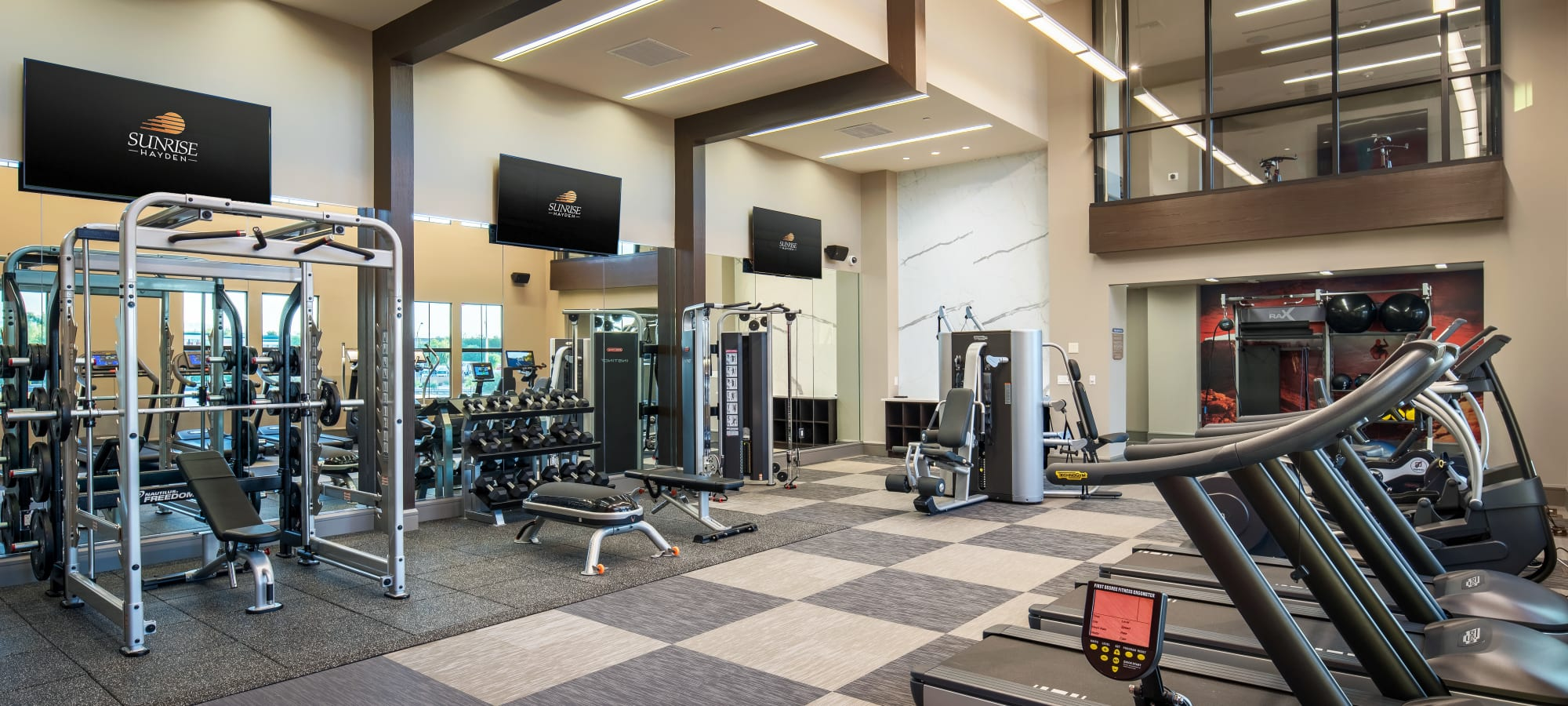 Well-equipped fitness center at The Core Scottsdale in Scottsdale, Arizona