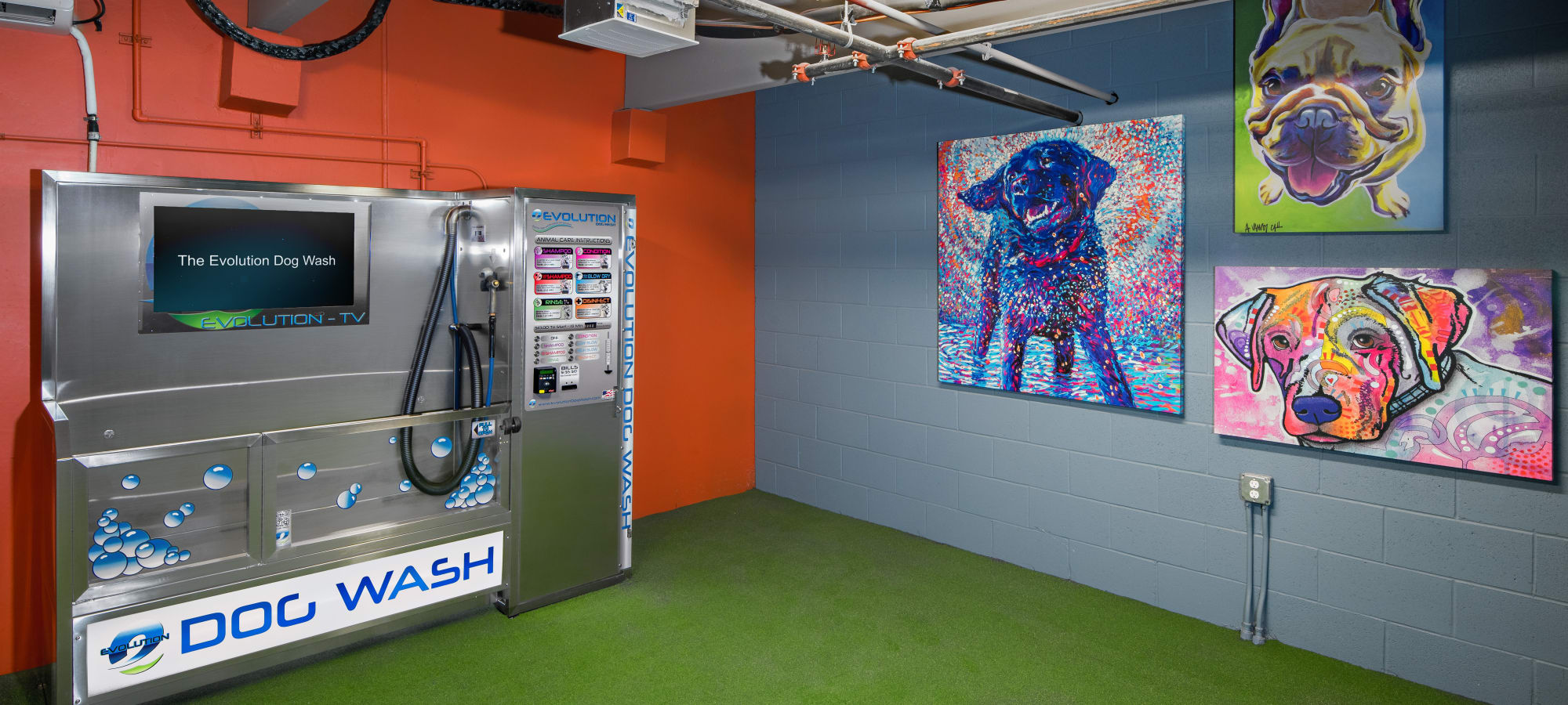 Dog wash station at The Core Scottsdale in Scottsdale, Arizona