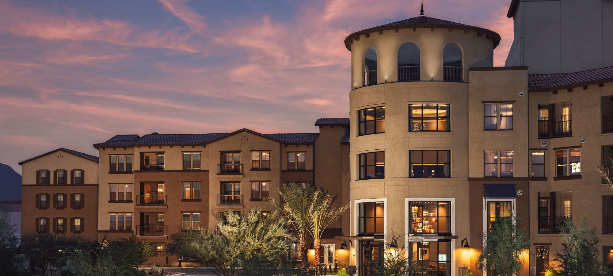 Exterior view of our luxury community at sunset at The Core Scottsdale in Scottsdale, Arizona