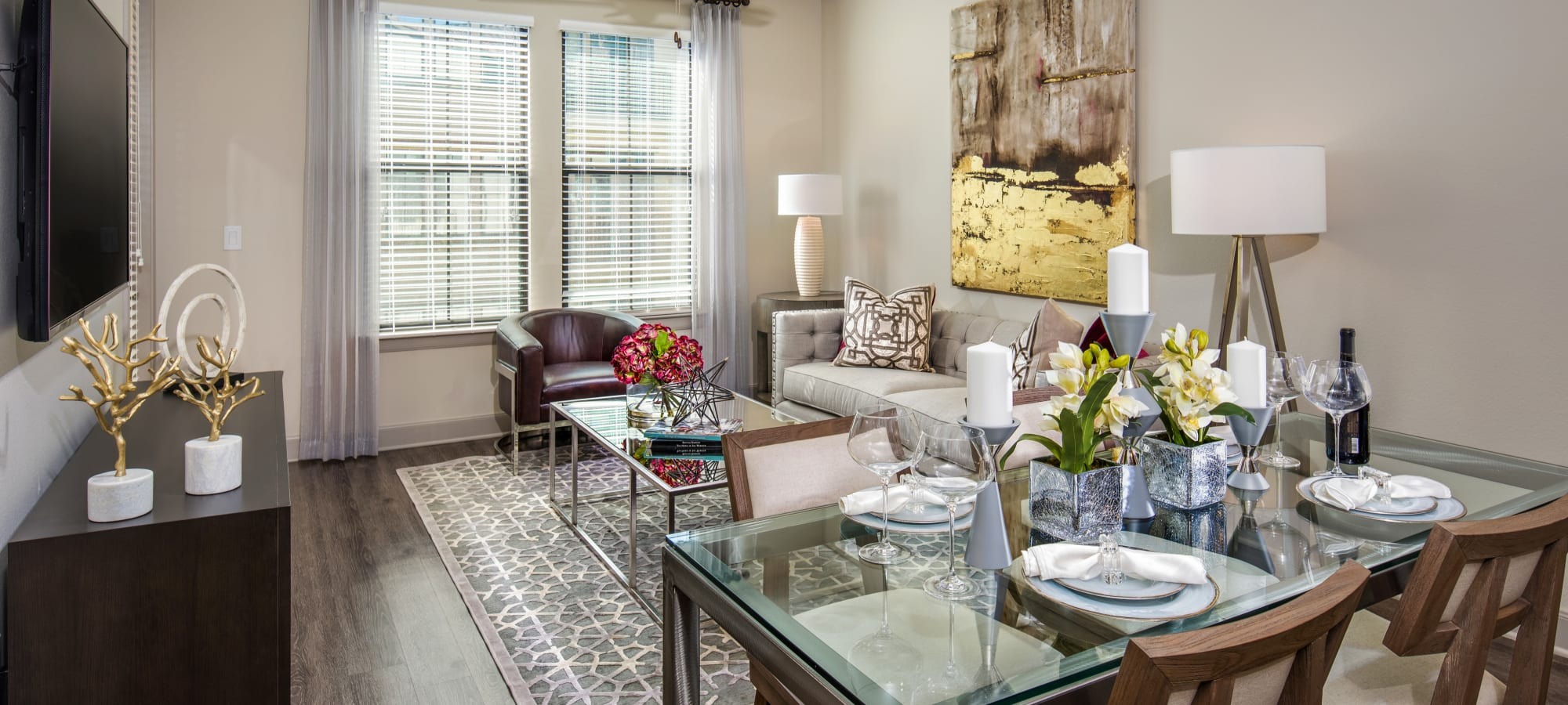 Dining and living areas in a model home at The Core Scottsdale in Scottsdale, Arizona