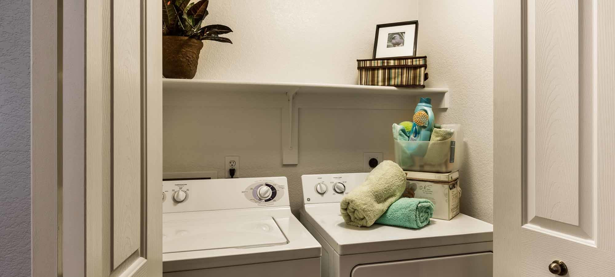 Full size washer and dryer in model home at San Marbeya in Tempe, Arizona