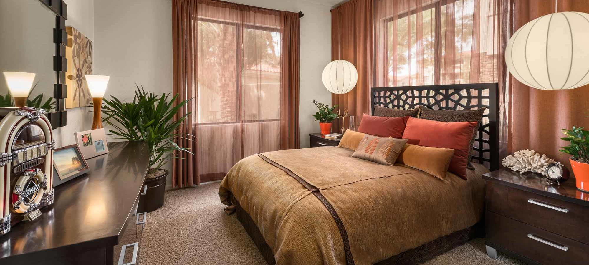 Guest bedroom in model home at San Marbeya in Tempe, Arizona