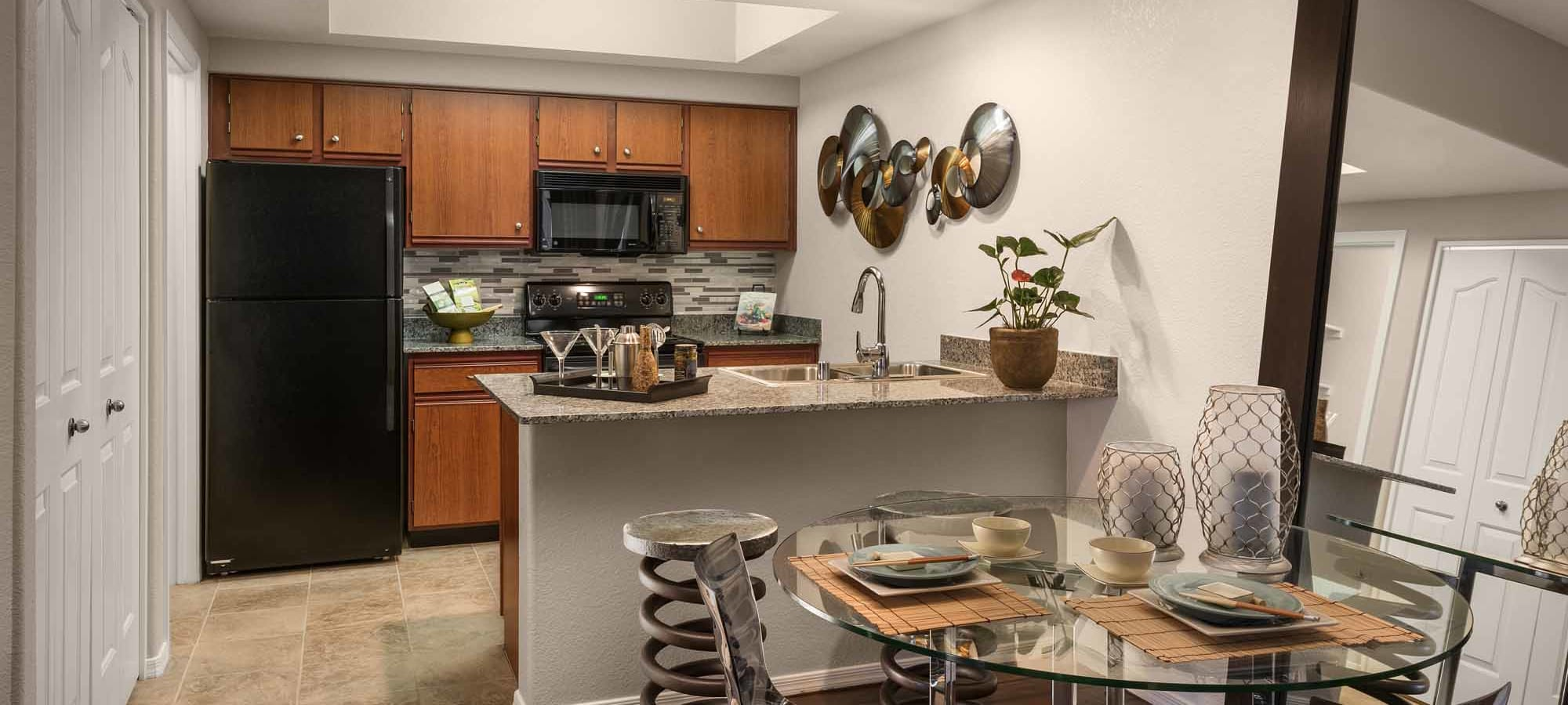 Stylish kitchen in model home at San Marbeya in Tempe, Arizona