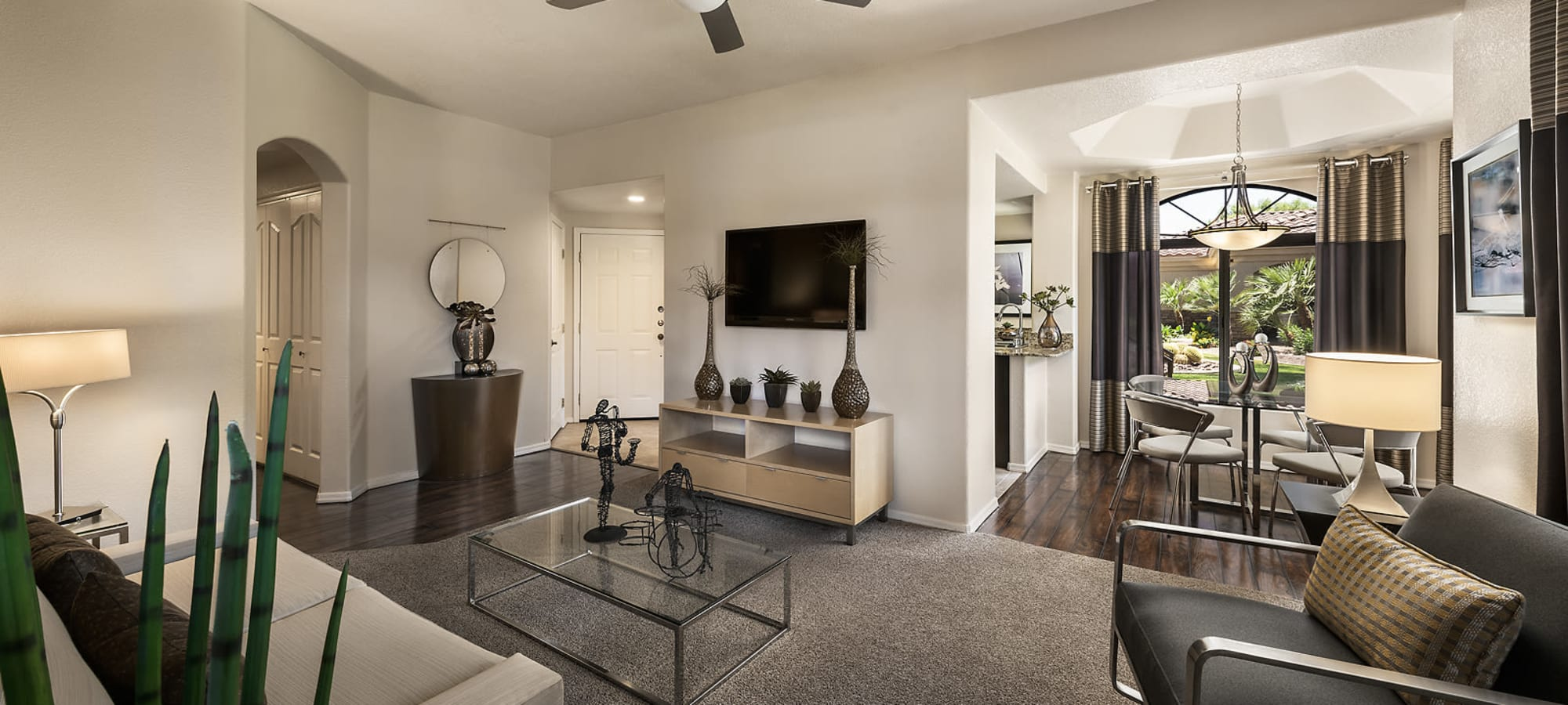 Open floor plan living room at San Cervantes in Chandler, Arizona