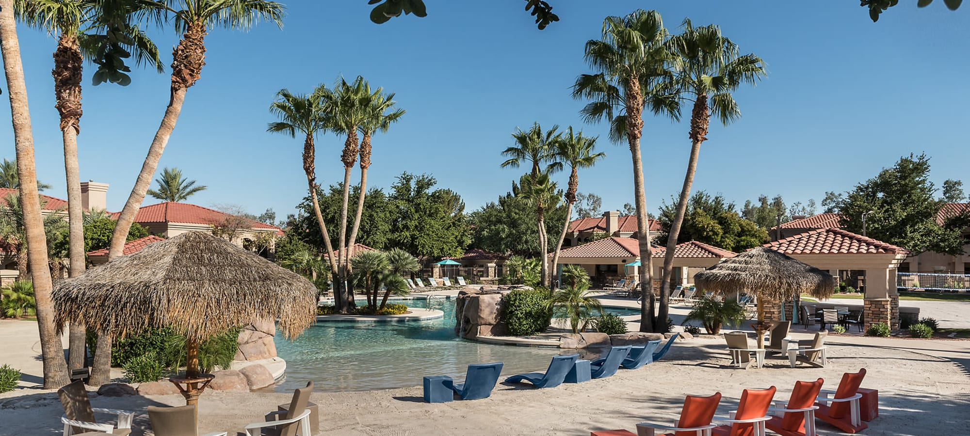 Luxury swimming pool at San Cervantes in Chandler, Arizona