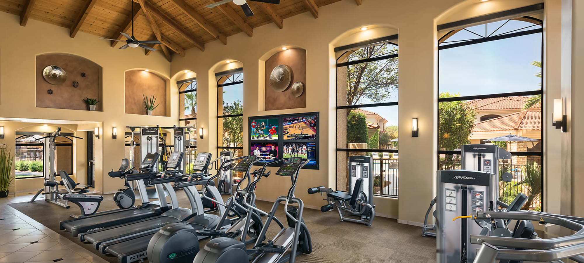 Fitness center with equipment at San Lagos in Glendale, Arizona