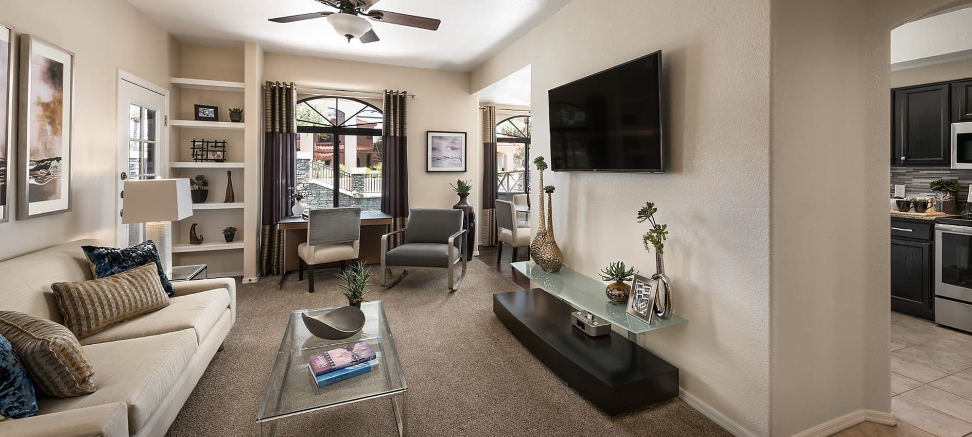 Living room with decor at San Lagos in Glendale, Arizona