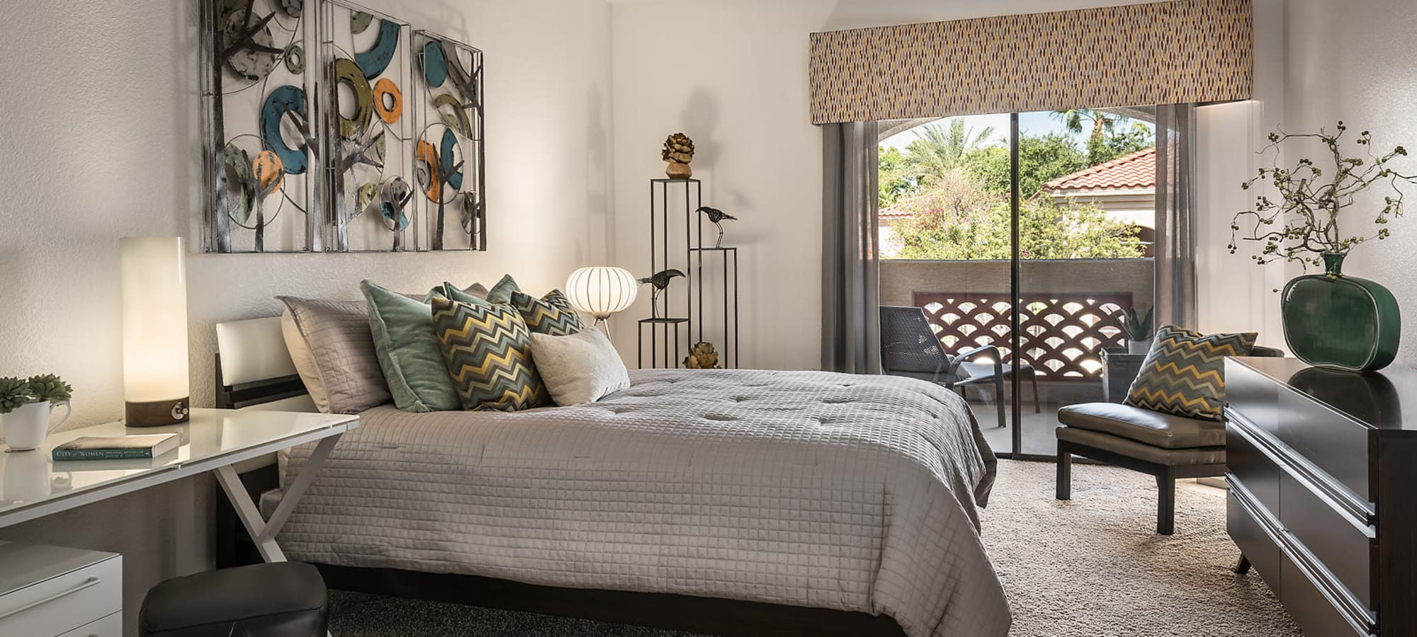 Spacious Master bedroom with furniture at San Lagos in Glendale, Arizona