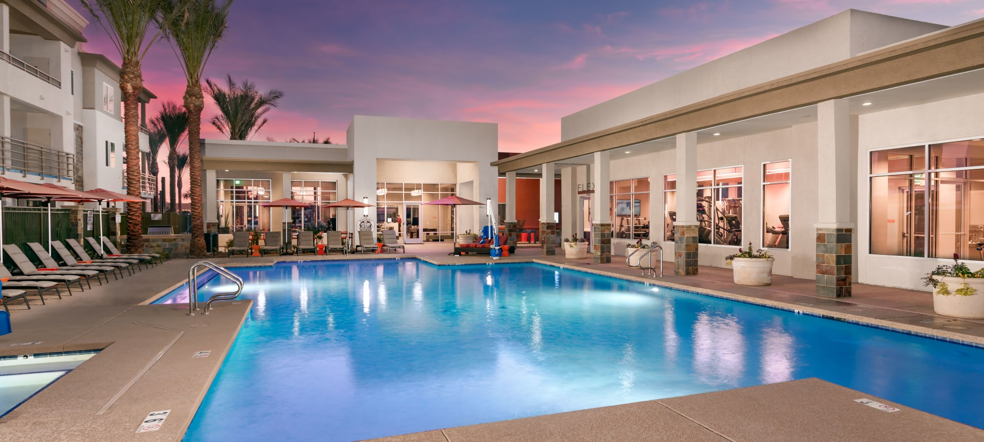 Resort-style swimming pool with a sundeck at Morrison Chandler in Chandler, Arizona