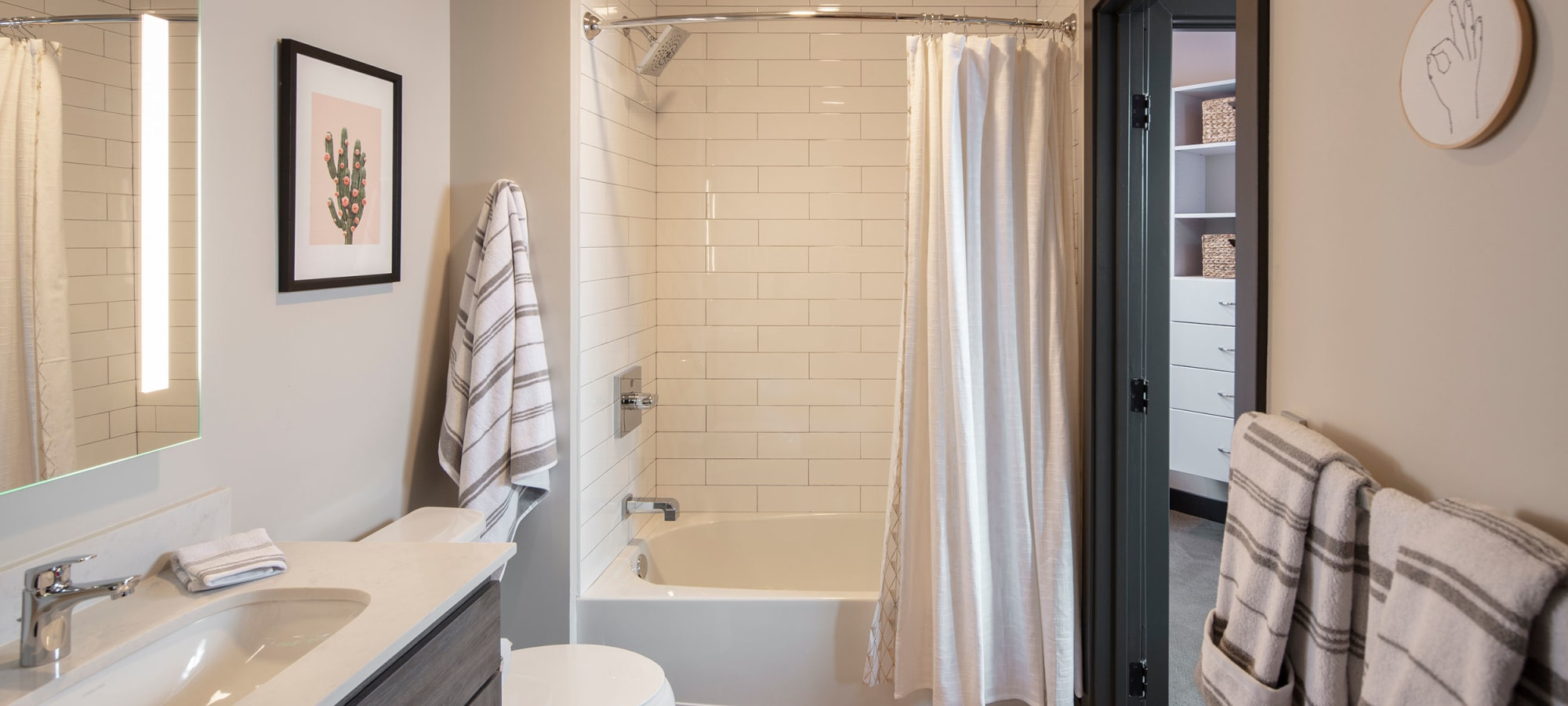 luxury bathroom with fixtures at The Local Apartments in Tempe, Arizona
