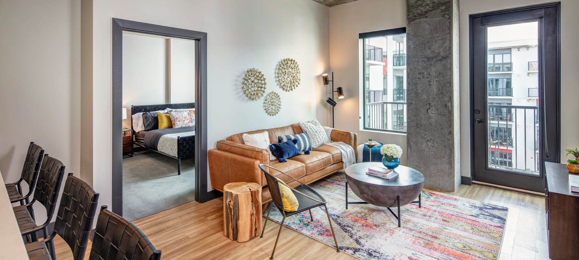 high ceilings and decorated living room at The Local Apartments in Tempe, Arizona