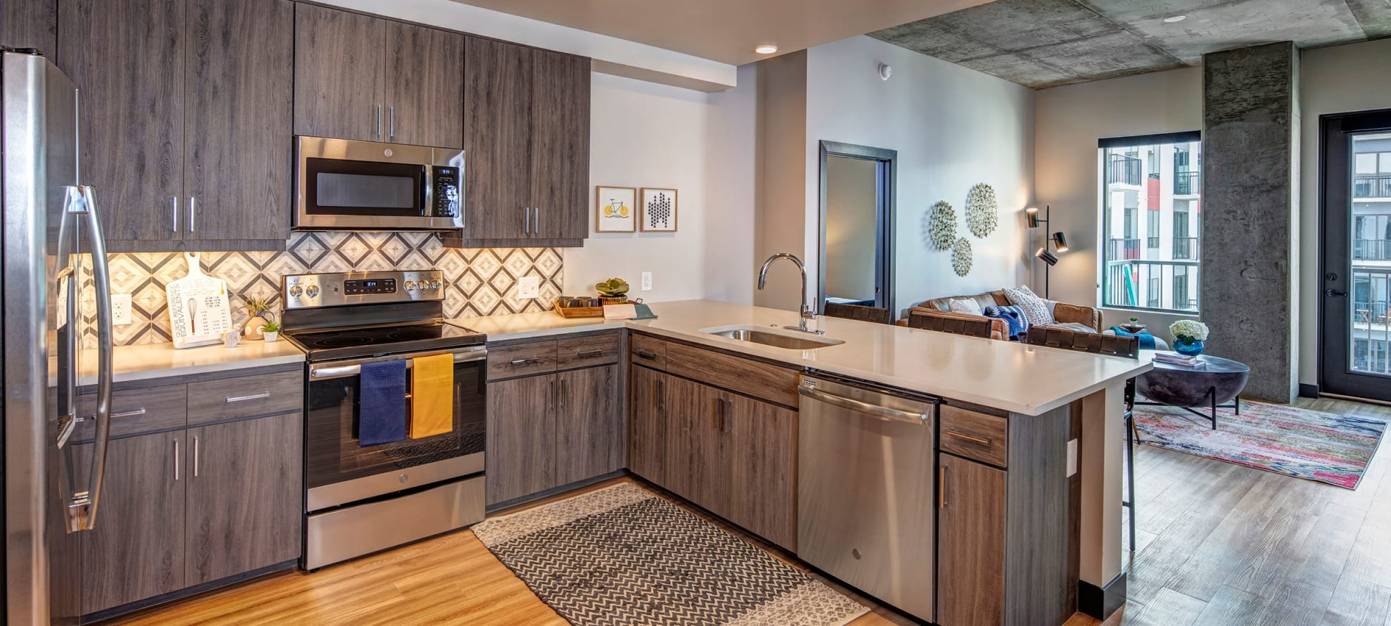 spacious kitchen and living room at The Local Apartments in Tempe, Arizona