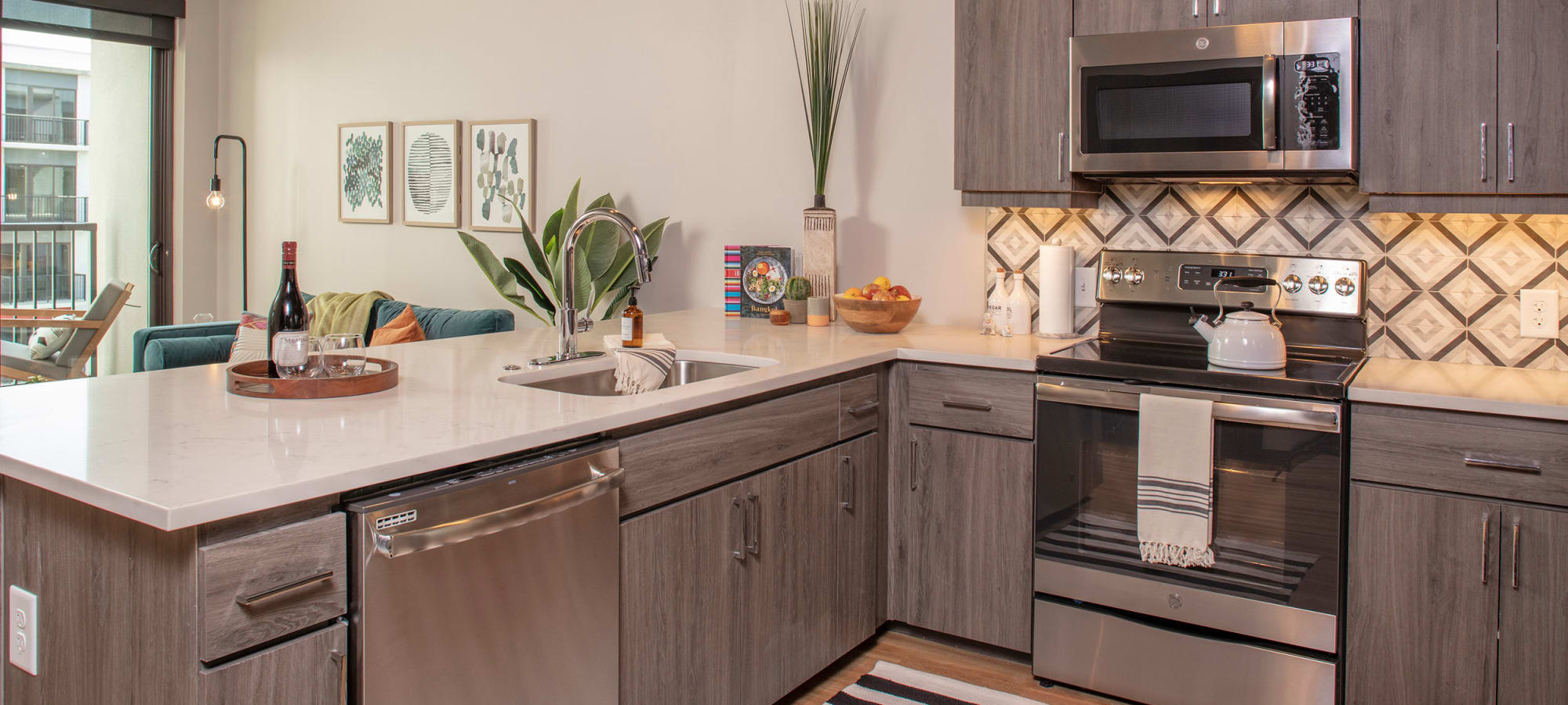 modern kitchen and counter tops at The Local Apartments in Tempe, Arizona