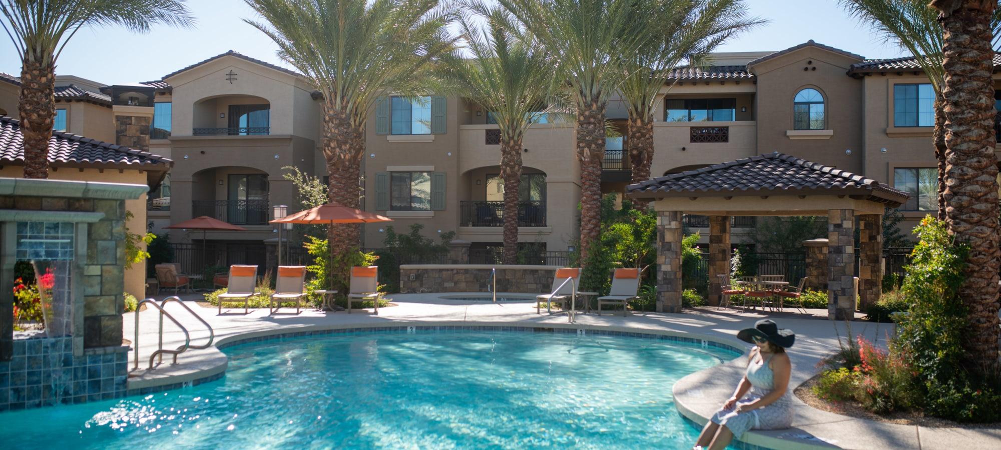 Resort-style swimming pool at BB Living at Val Vista in Gilbert, Arizona