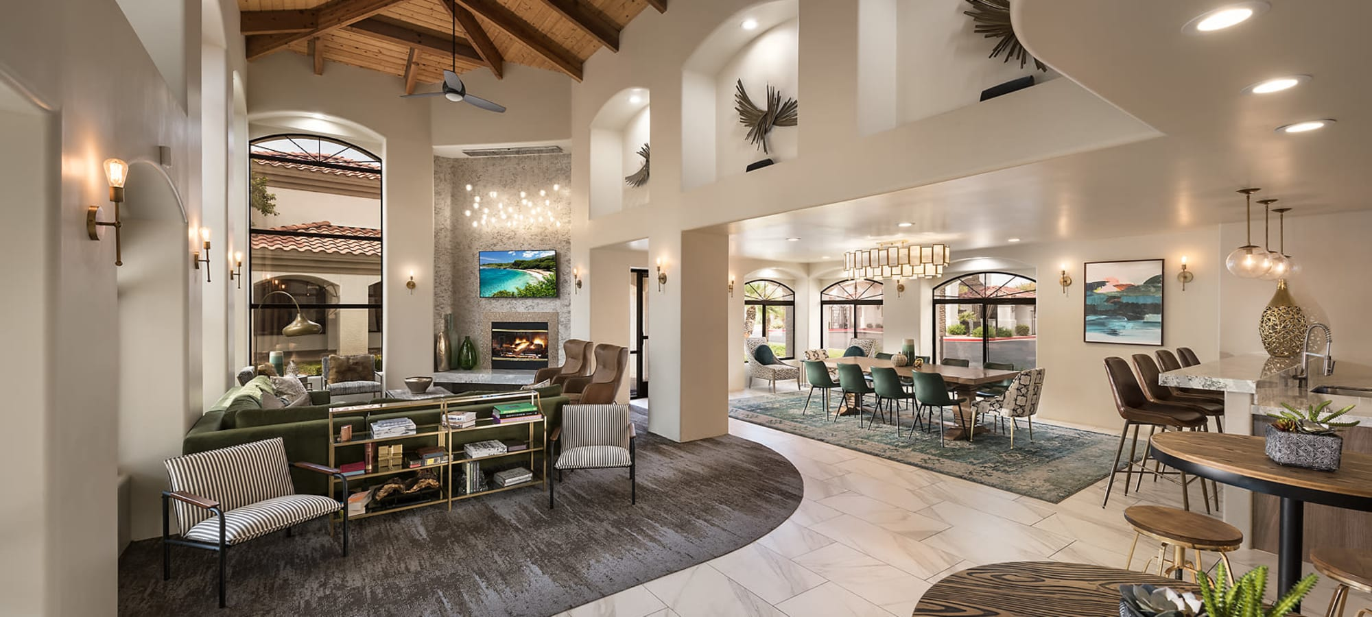 Inviting clubhouse with furniture at San Palmas in Chandler, Arizona