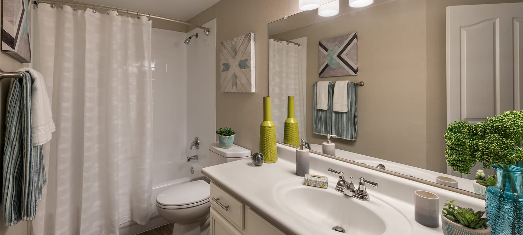Luxury bathroom with modern upgrades at San Palmas in Chandler, Arizona