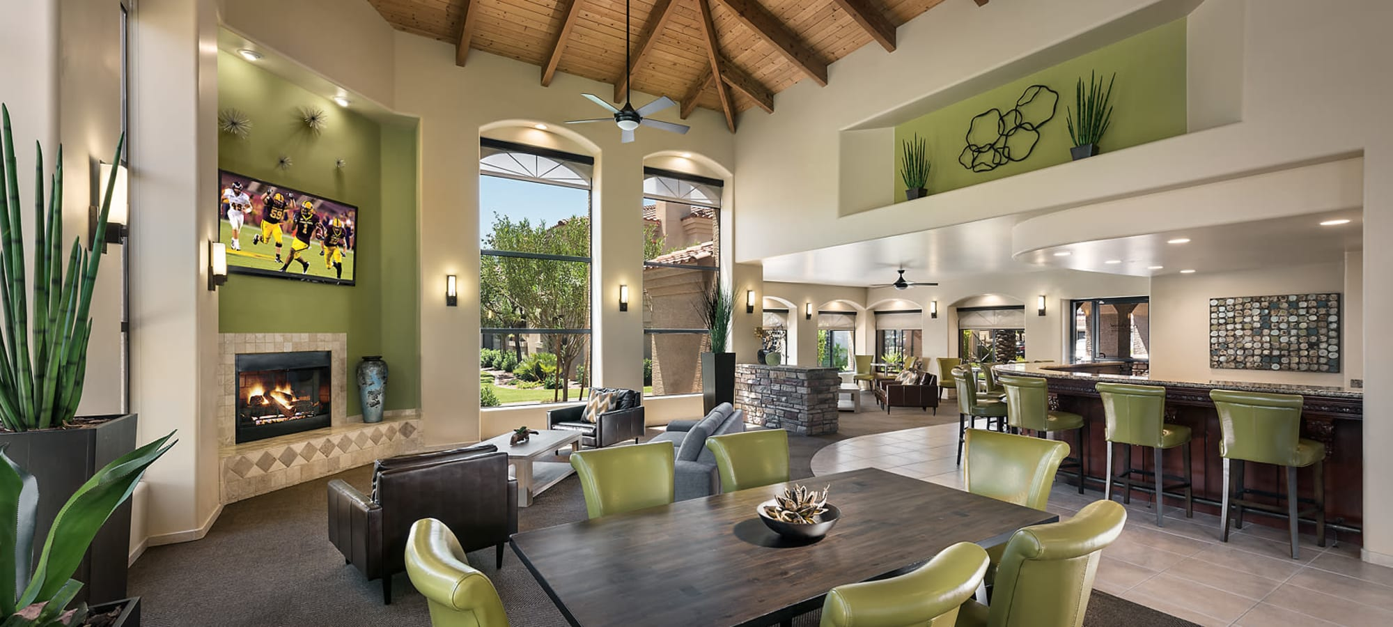 Gorgeous resident clubhouse interior at San Pedregal in Phoenix, Arizona