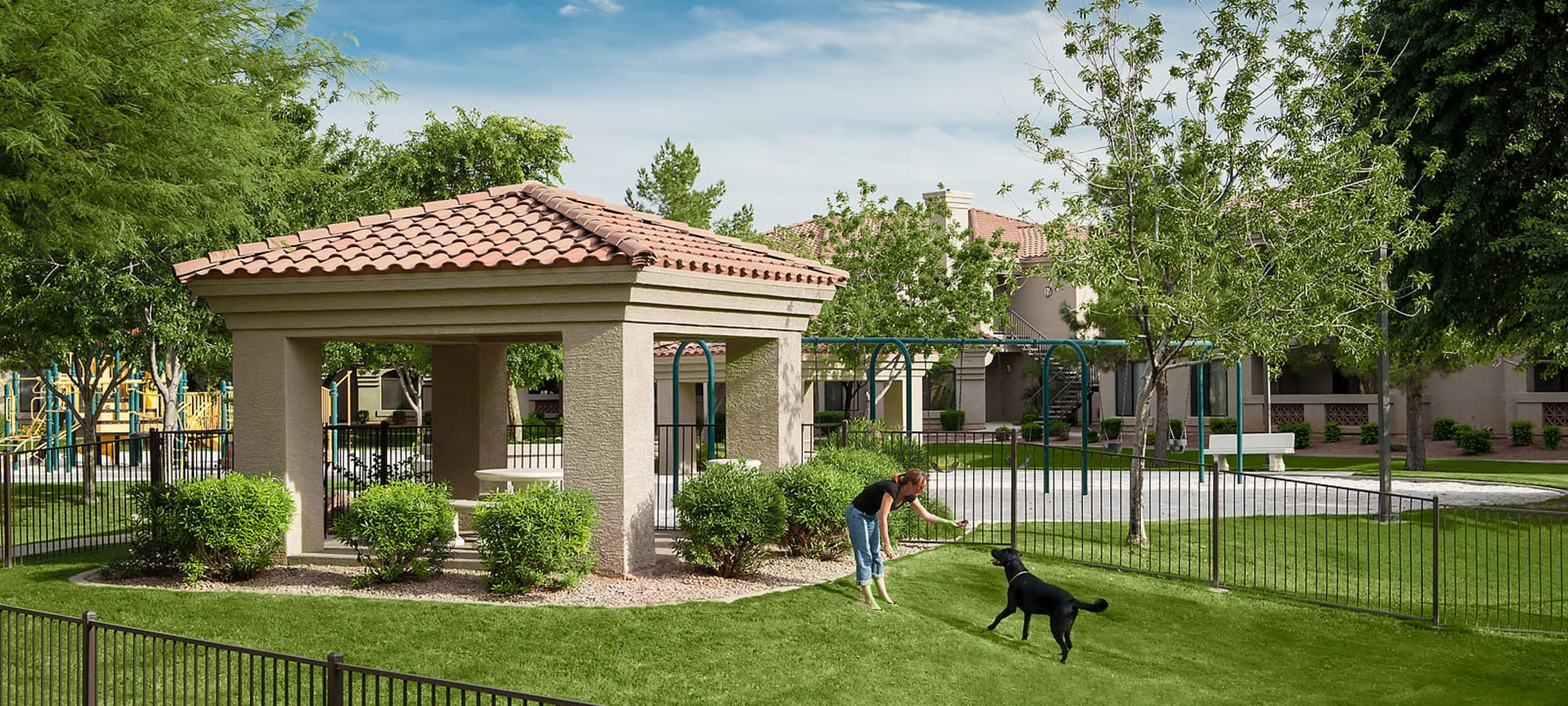 Onsite dog park with well-maintained lawn at San Pedregal in Phoenix, Arizona