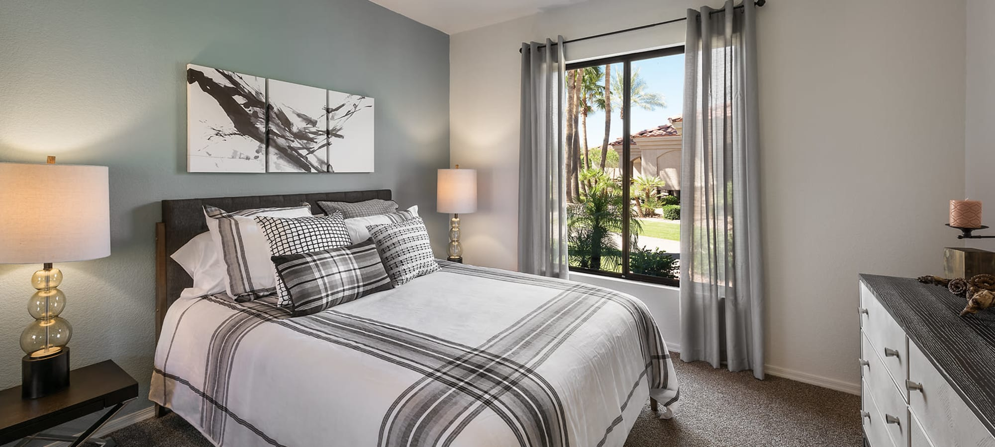 Spacious and well lit bedroom in a model home at San Pedregal in Phoenix, Arizona