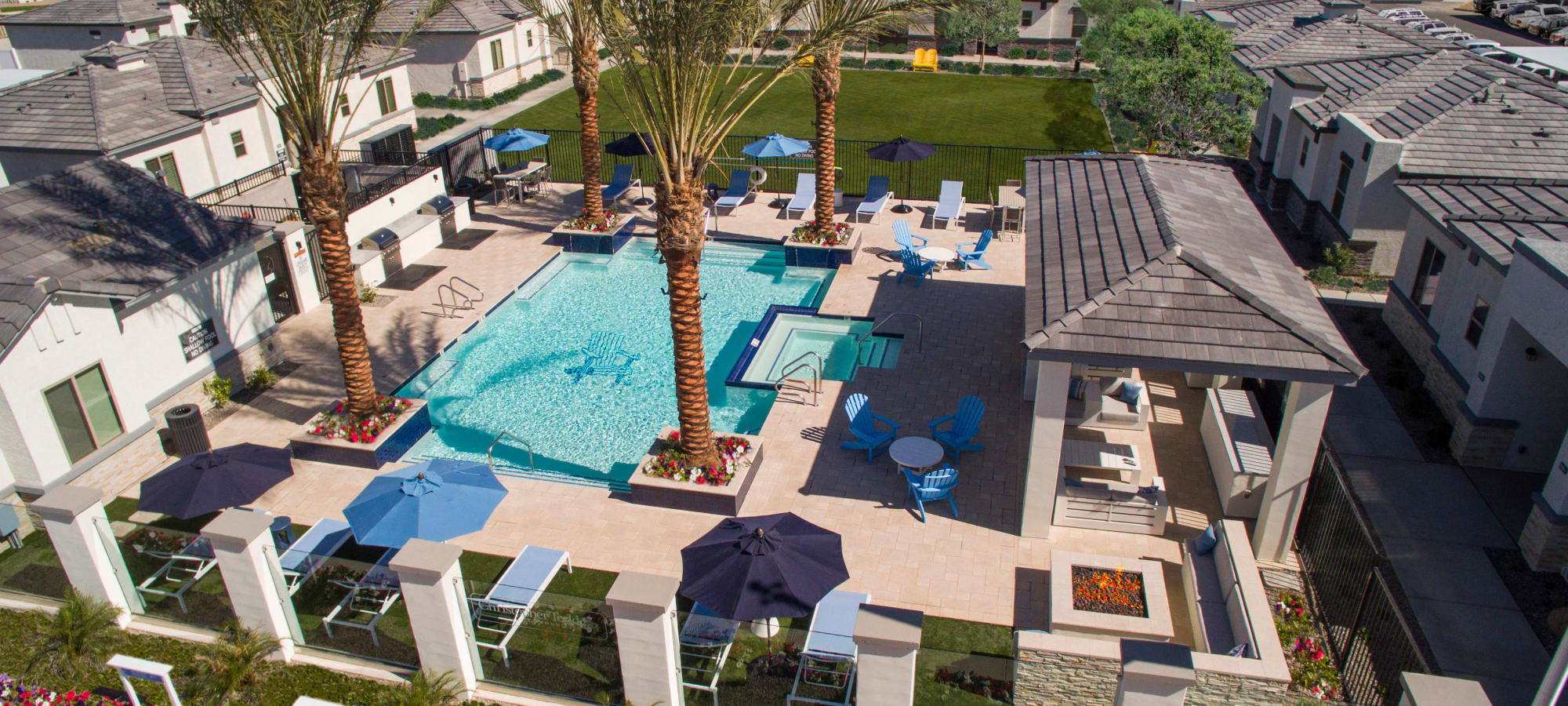 Aerial view of the pool area at Christopher Todd Communities At Estrella Commons in Goodyear, Arizona