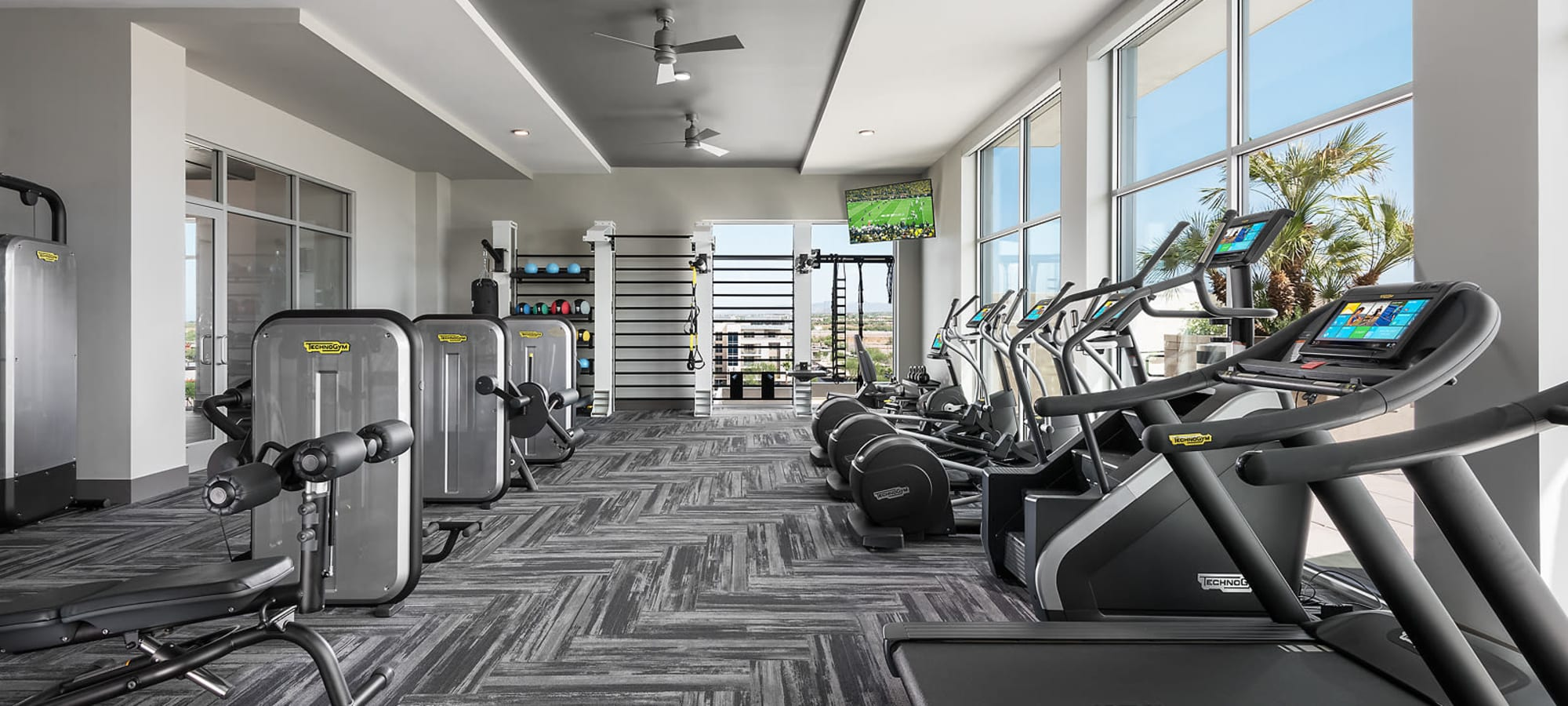 Beautiful bright gym area at The Halsten at Chauncey Lane in Scottsdale, Arizona