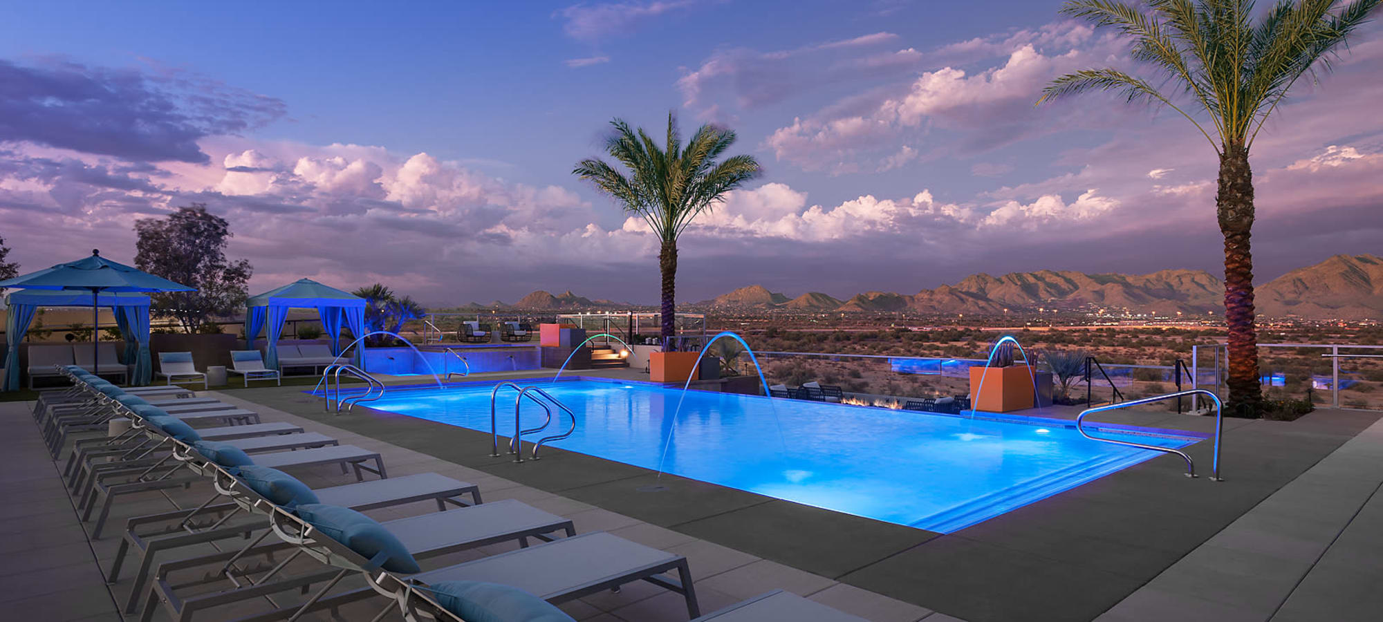 Beautiful resort style pool at The Halsten at Chauncey Lane in Scottsdale, Arizona