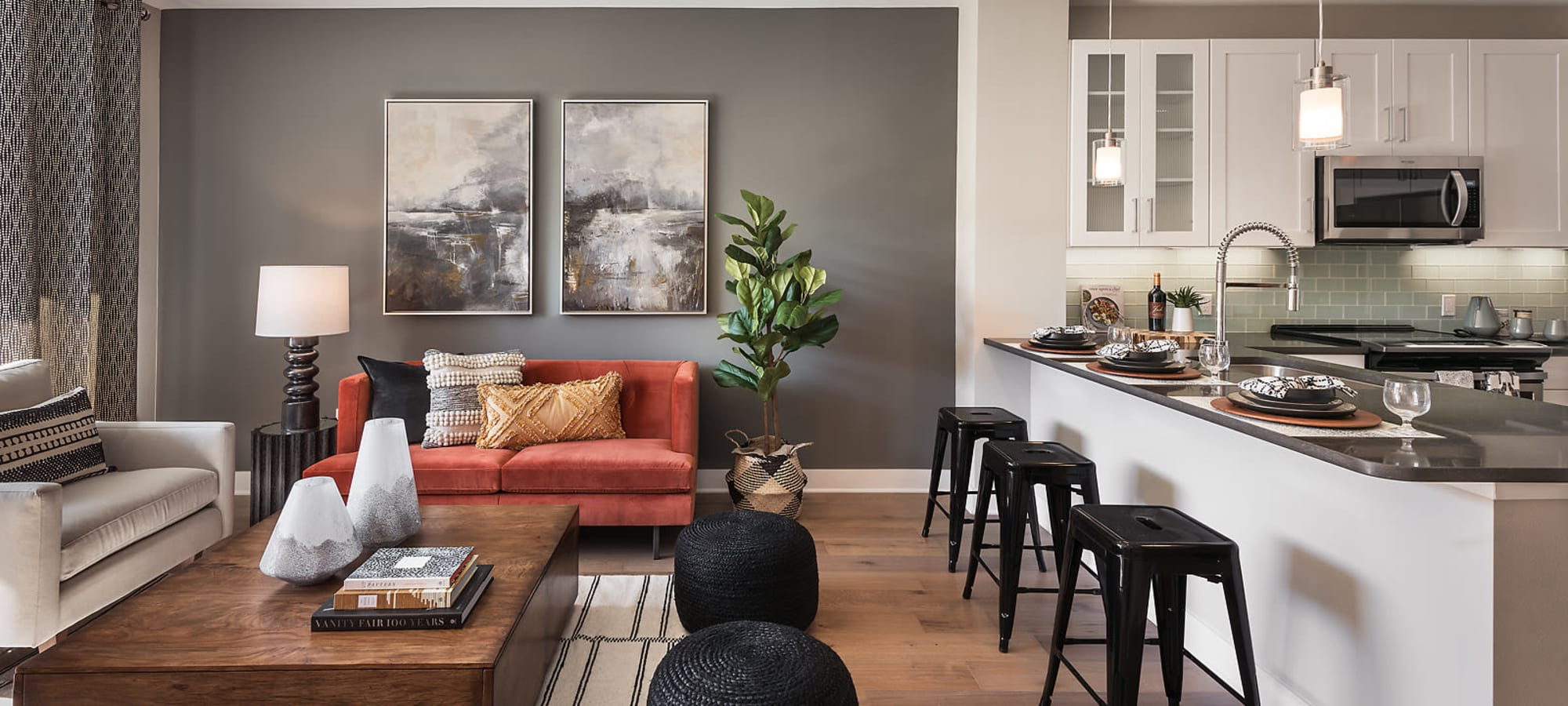 Bright living room and kitchen at The Halsten at Chauncey Lane in Scottsdale, Arizona