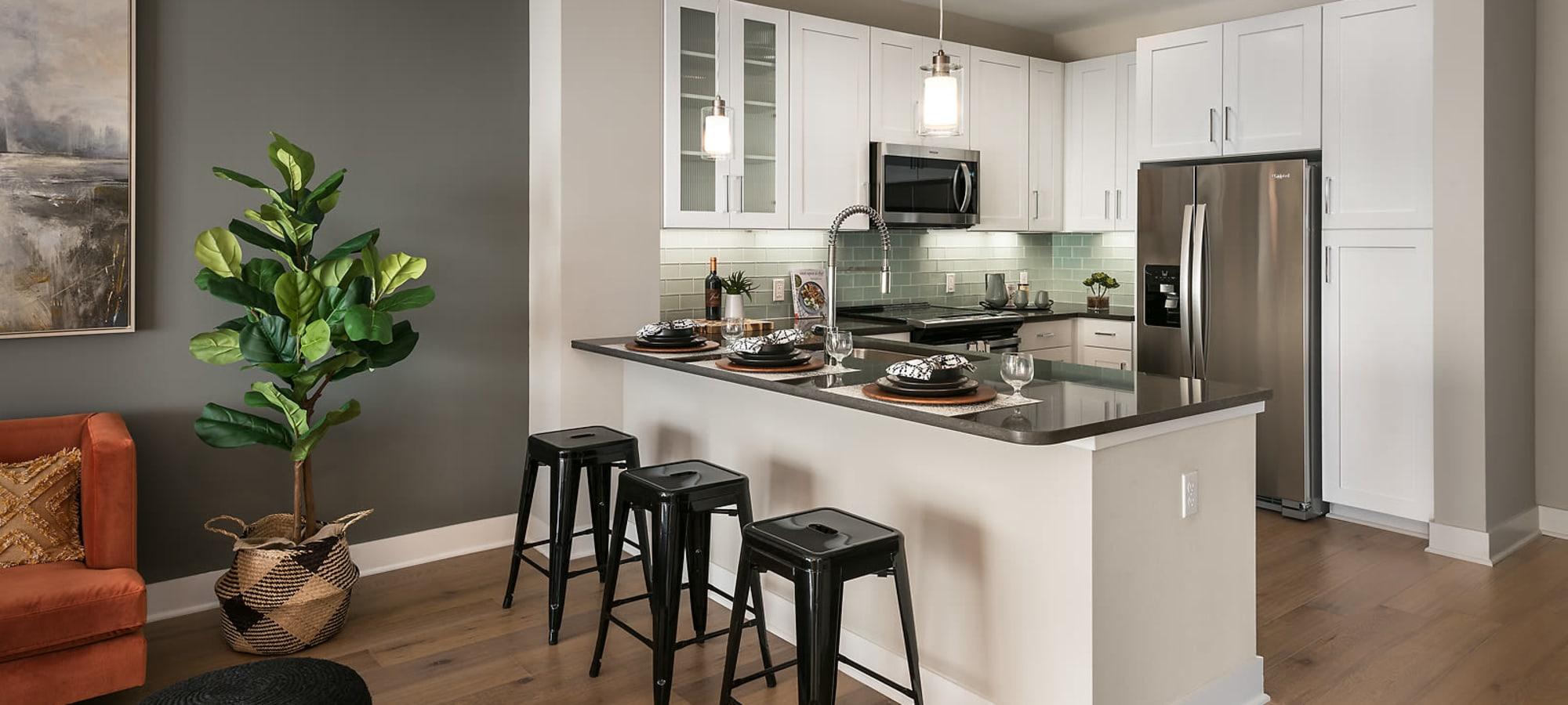 Kitchen island at The Halsten at Chauncey Lane in Scottsdale, Arizona