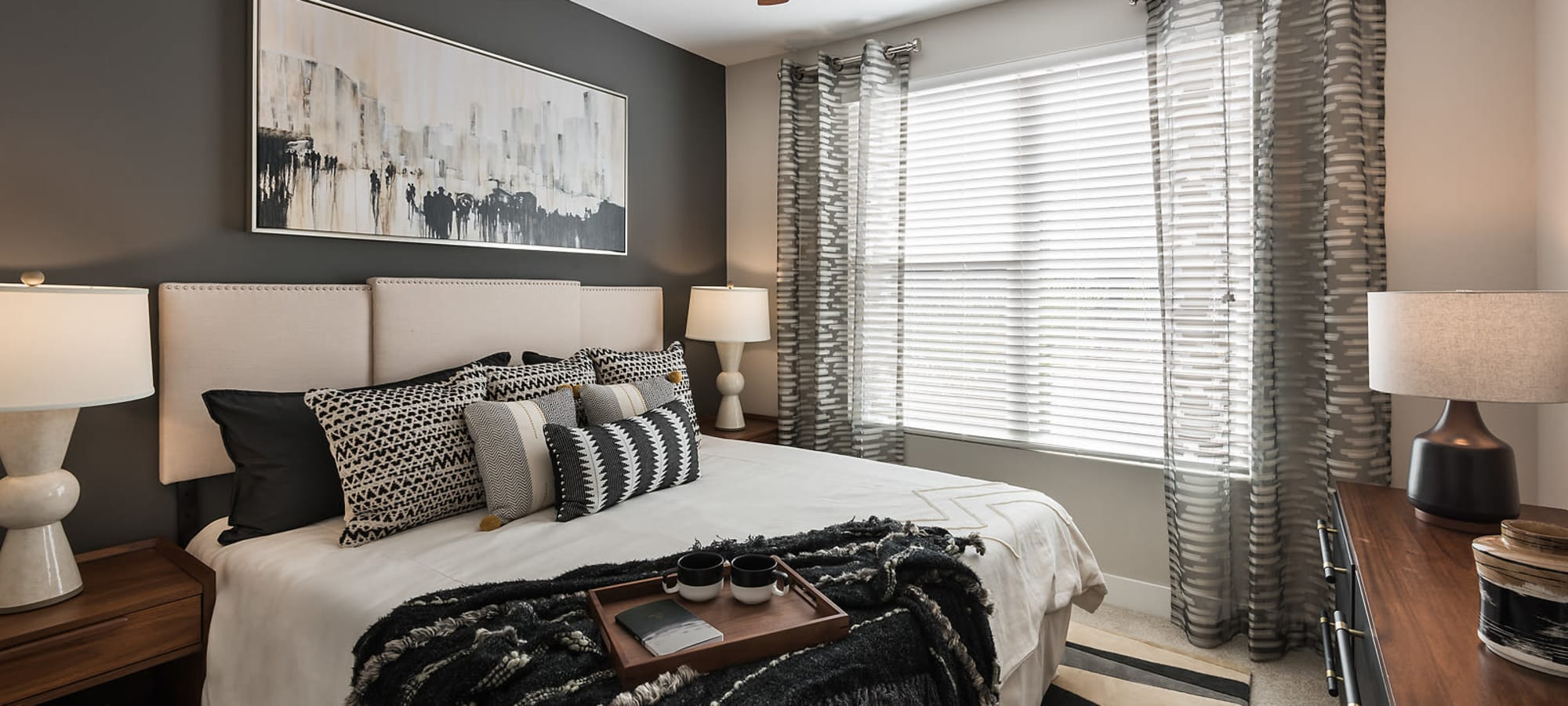 Large bedroom windows at The Halsten at Chauncey Lane in Scottsdale, Arizona