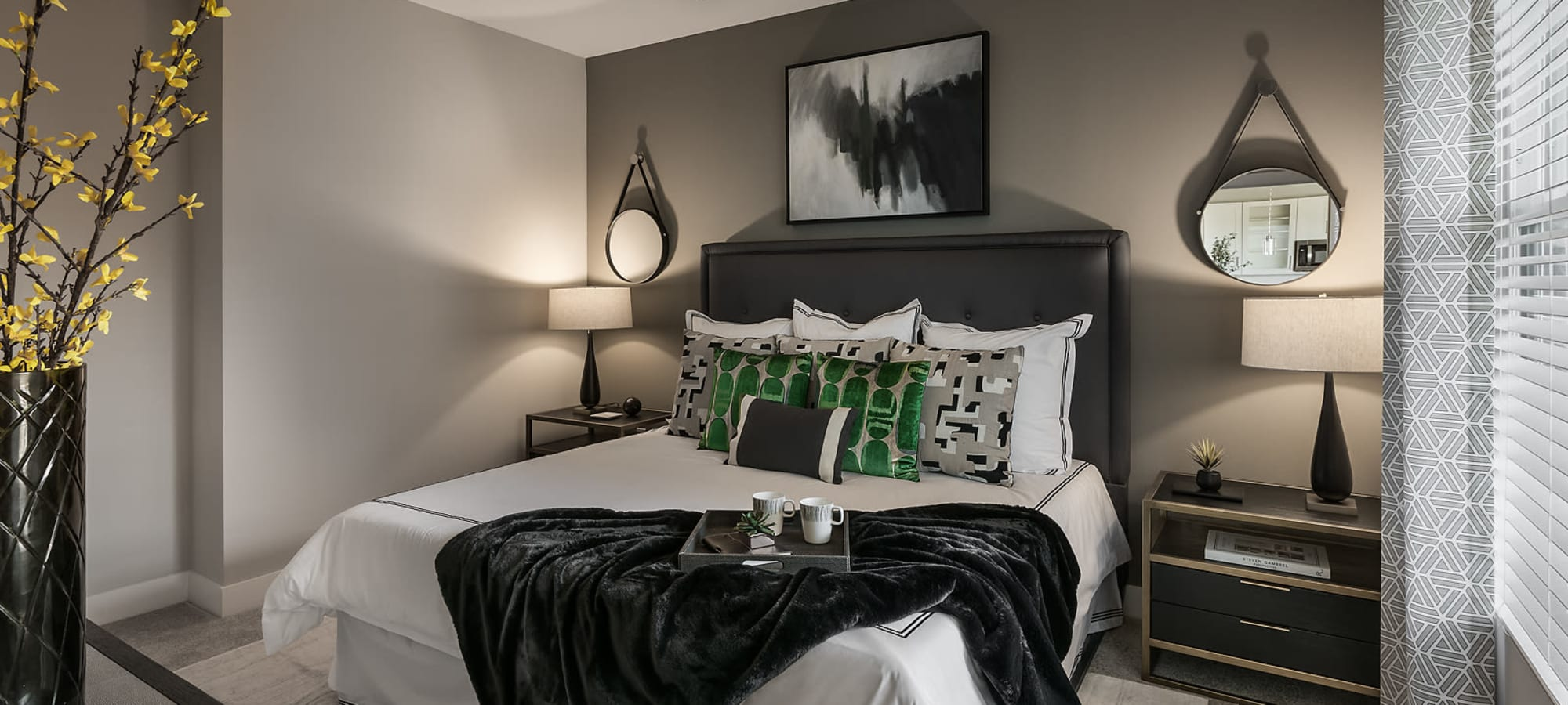 Comfortable bedroom at The Halsten at Chauncey Lane in Scottsdale, Arizona