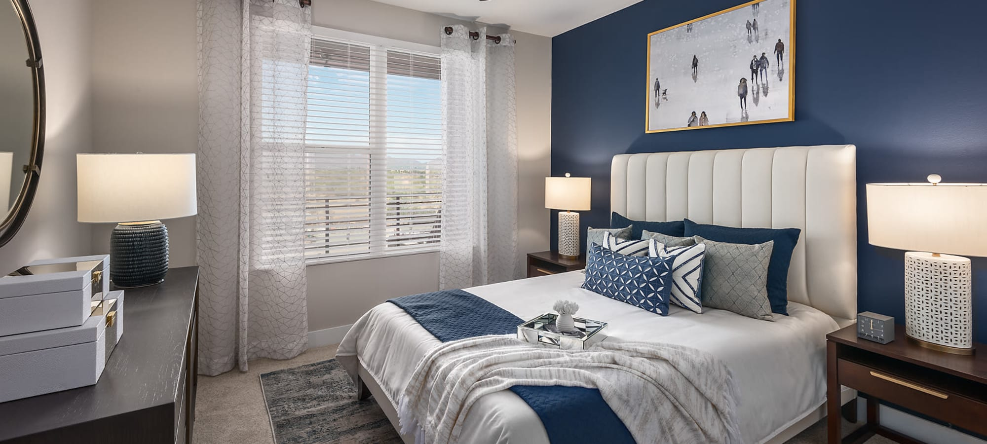 Bright master bedroom at The Halsten at Chauncey Lane in Scottsdale, Arizona