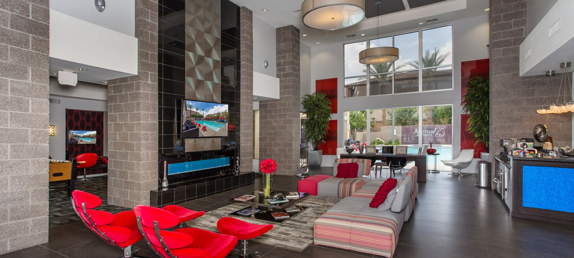 Seating in the lobby at Avenue 25 Apartments in Phoenix, Arizona