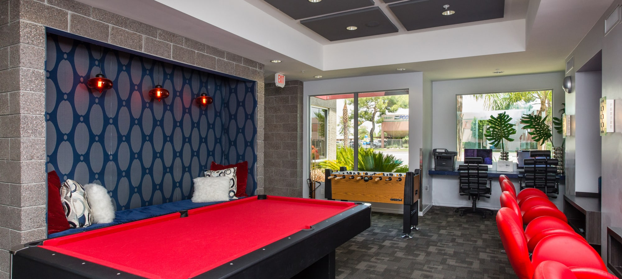 A game room for residents at Avenue 25 Apartments in Phoenix, Arizona