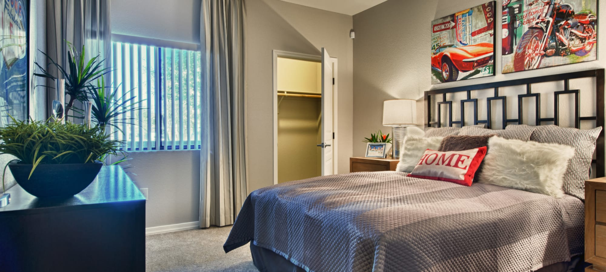 Large furnished bedroom at Avenue 25 Apartments in Phoenix, Arizona