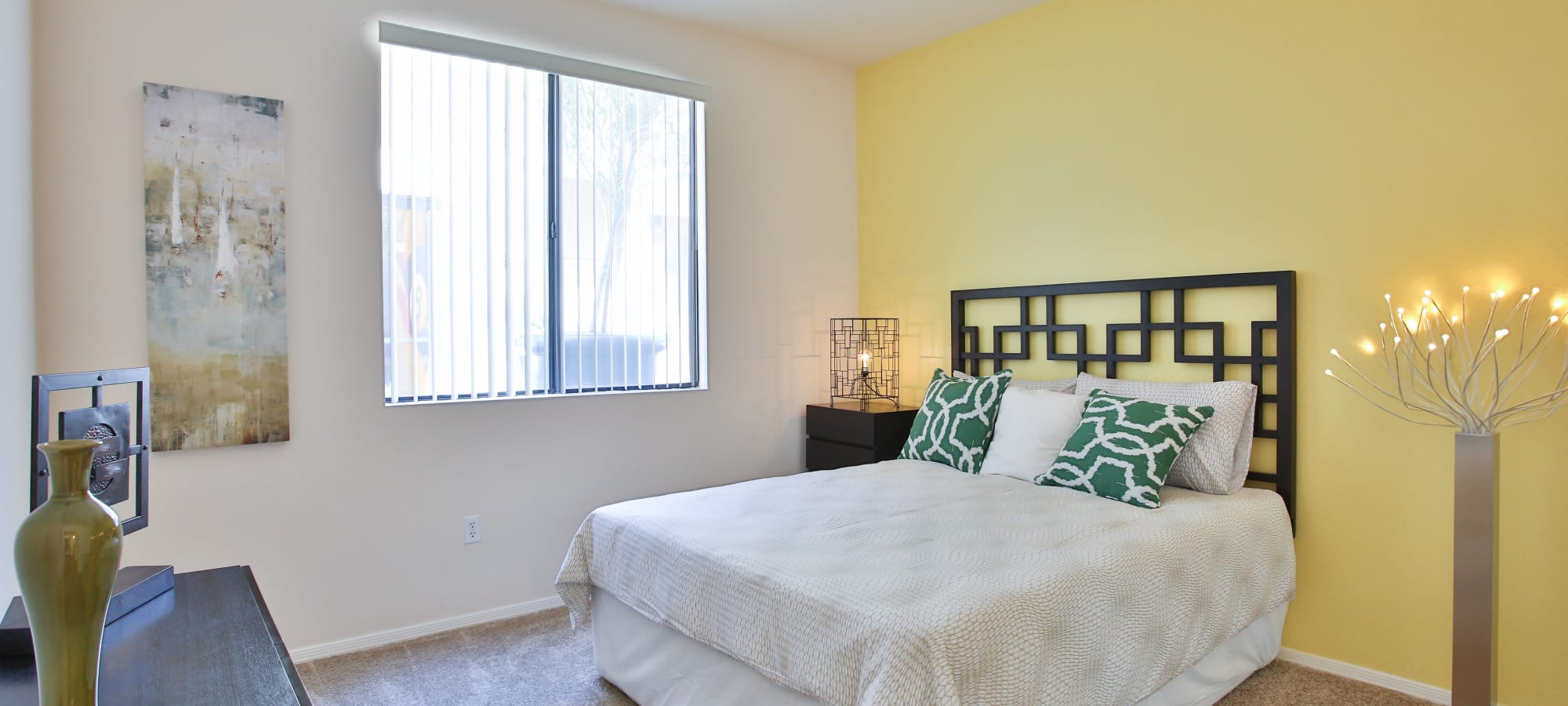 A furnished second bedroom at Spectra on 7th South in Phoenix, Arizona
