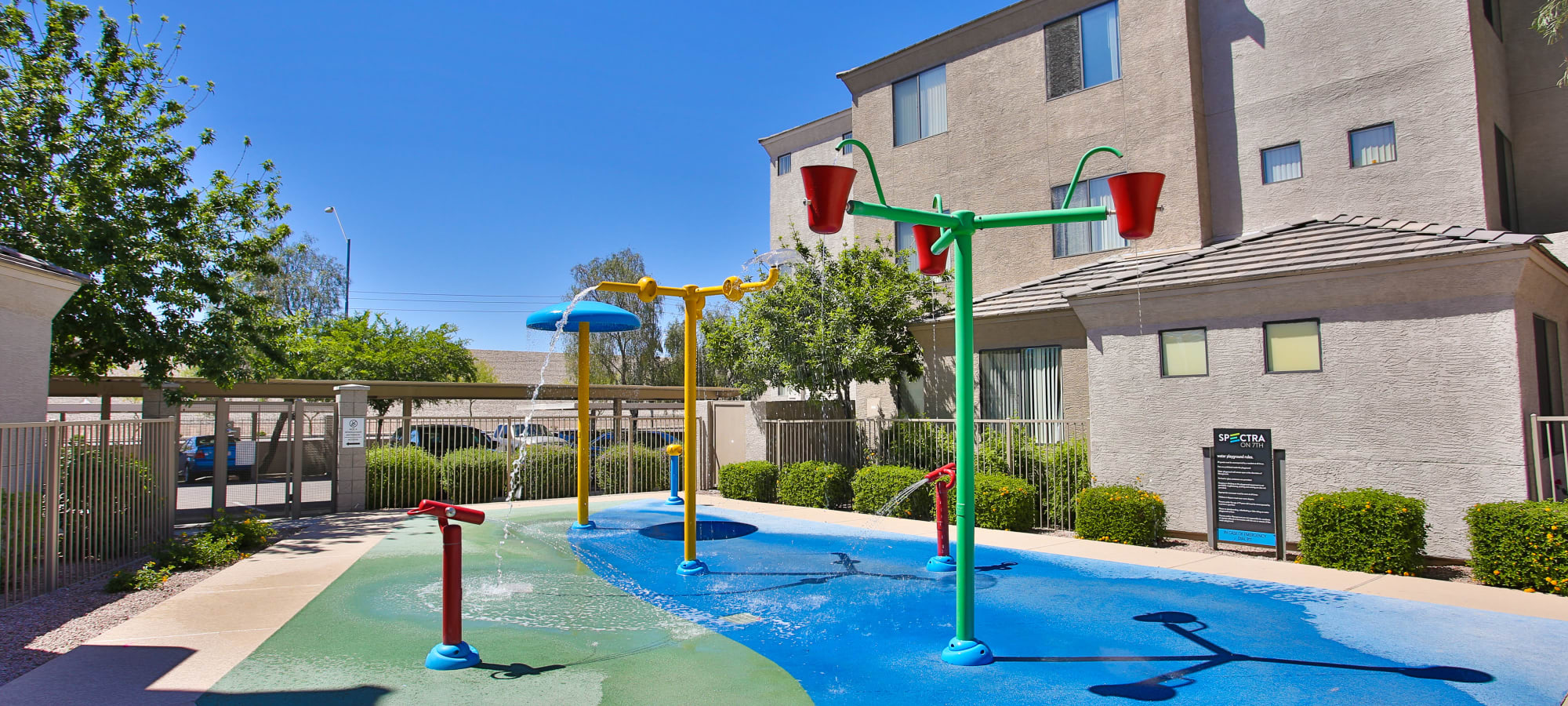 A playground with water features at Spectra on 7th South in Phoenix, Arizona