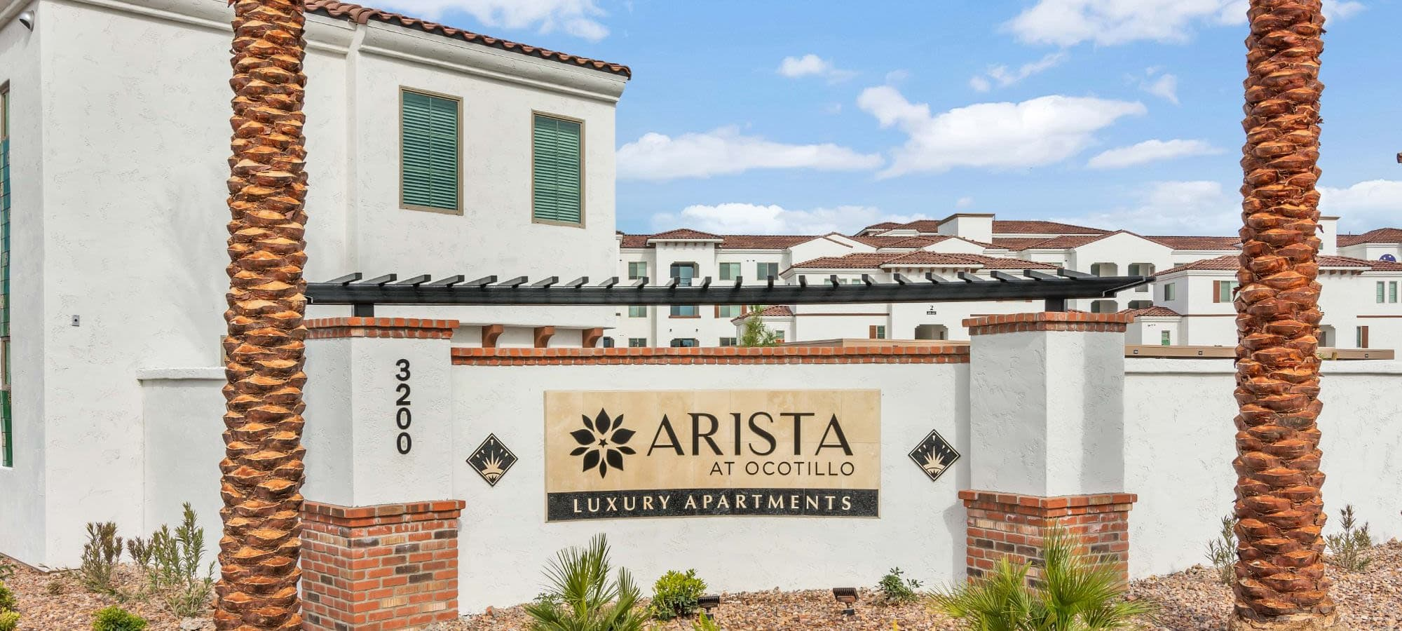 Front sign at Arista at Ocotillo in Chandler, Arizona