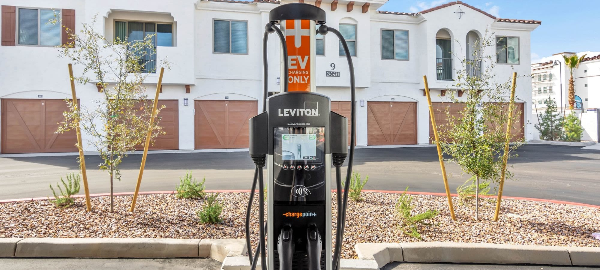 Electric car charging station at Arista at Ocotillo in Chandler, Arizona