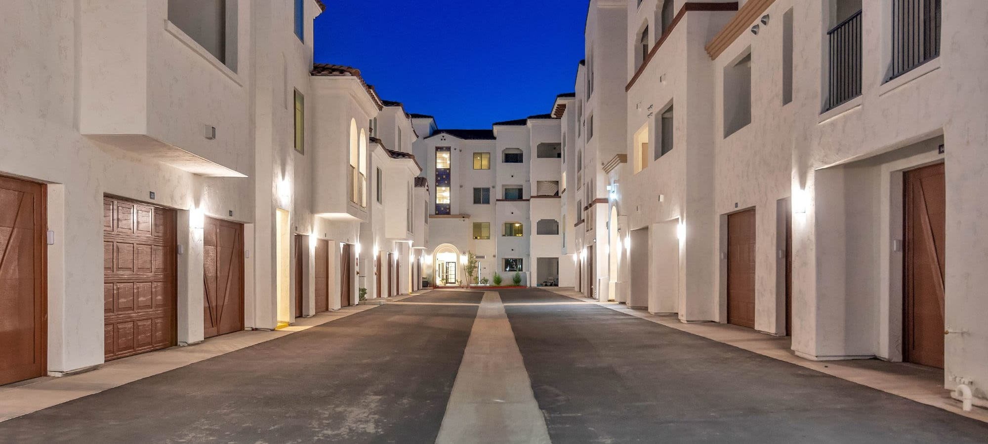 Well-lit driveways at Arista at Ocotillo in Chandler, Arizona