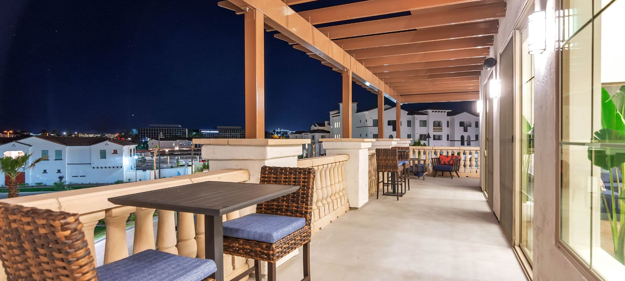 Community clubhouse and patio view at Arista at Ocotillo in Chandler, Arizona