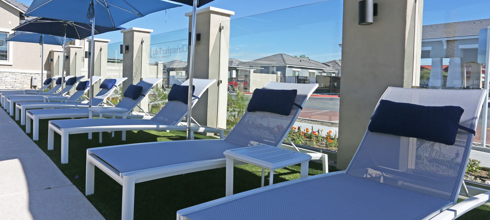 Row of shaded chaise lounge chairs at Christopher Todd Communities On Mountain View in Surprise, Arizona