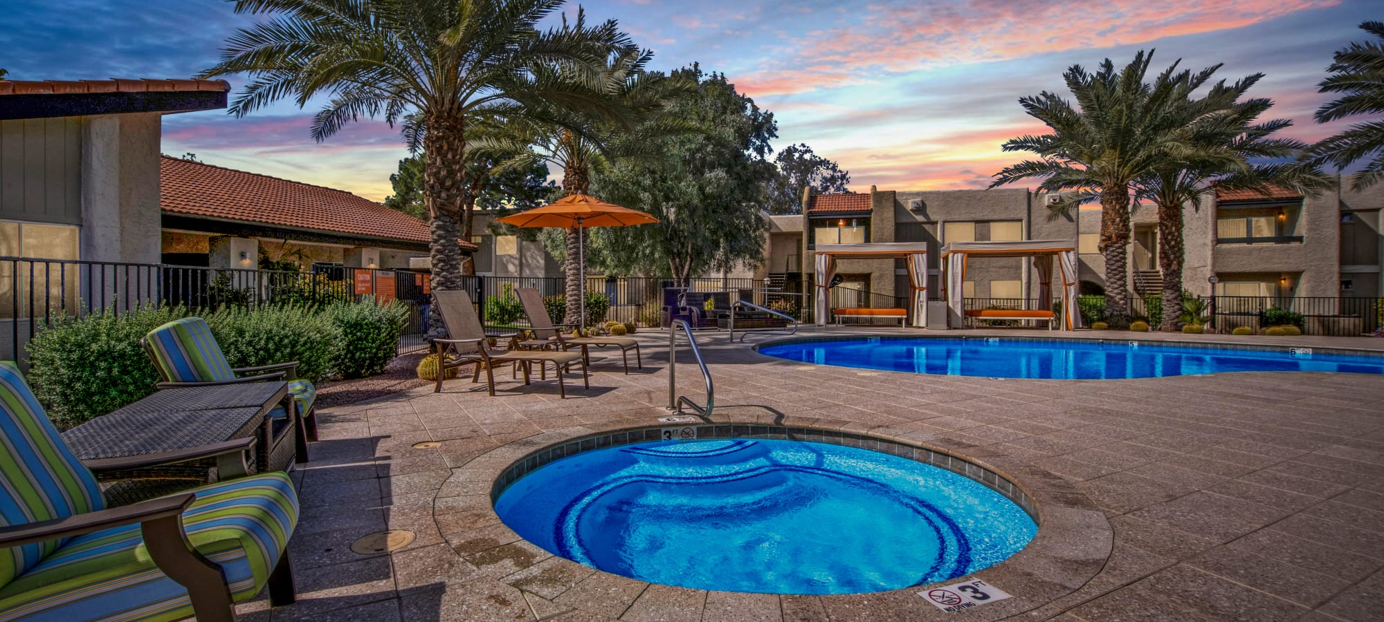 Resort style pool at Avia McCormick Ranch Apartments in Scottsdale, Arizona