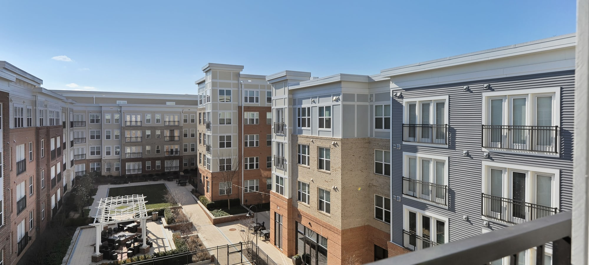 Exterior of The Mark at Brickyard Apartment Homes in Beltsville, Maryland.