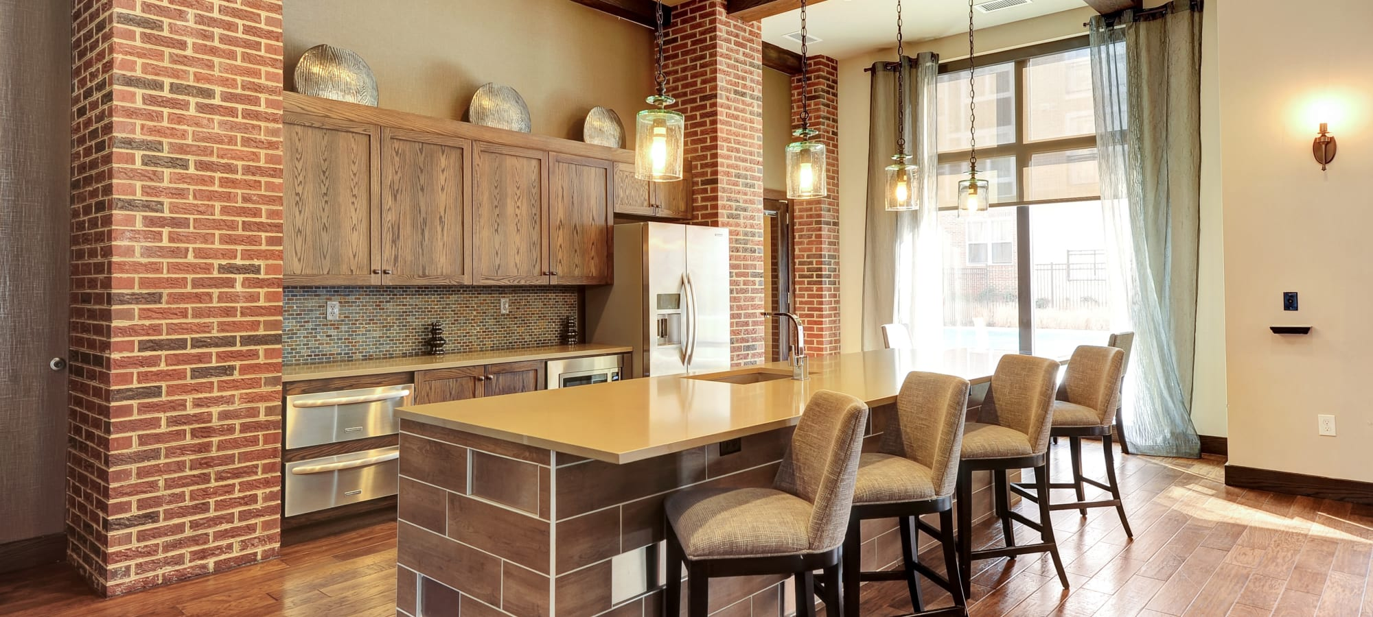 Kitchen at The Mark at Brickyard Apartment Homes in Beltsville, Maryland.