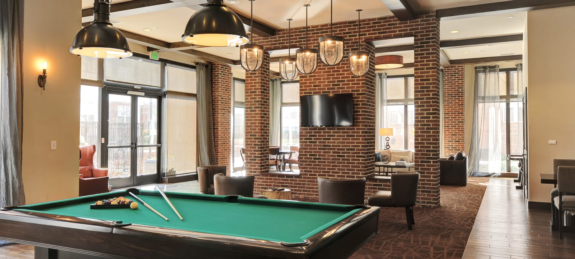 Pool table at The Mark at Brickyard Apartment Homes in Beltsville, Maryland.