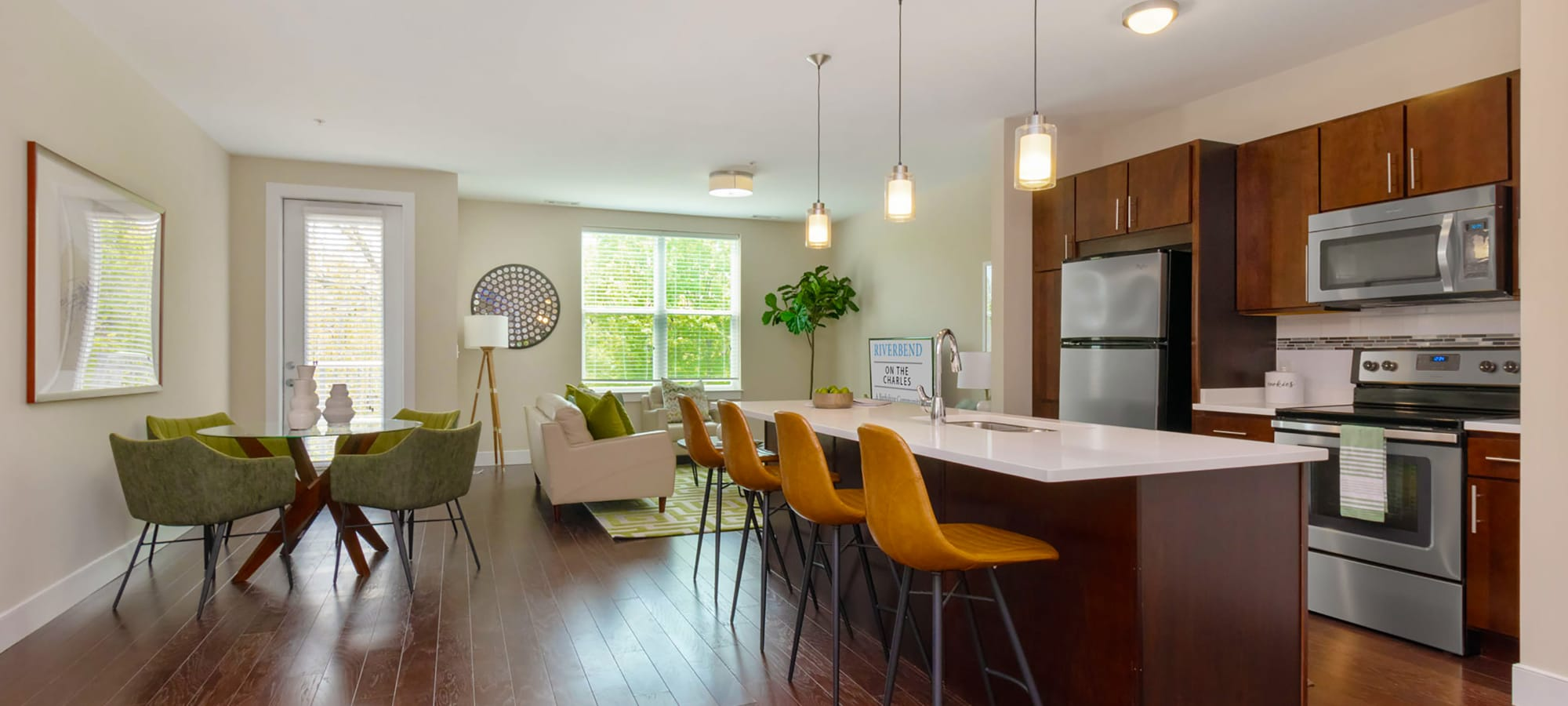 Open floor plans at Riverbend on the Charles in Watertown, Massachusetts